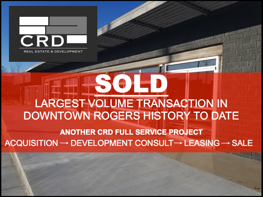 718 N. 2nd Street Rogers, AR At CRD, we strive to deliver the absolute best results for our clients and local communities. That's why we are honored to be part of history in our home town of Downtown Rogers. This week, CRD brokered the single largest volume transaction in Downtown Rogers history, to date. The 718 building has been a project CRD has been part of from Acquisition, to Development Consultation, to Leasing, to the final Sale. It has been an honor to represent and work alongside the initial developer and also represent the new owners in their purchase of this beautiful building. This full redevelopment has been a great project for the business and residential community of Downtown Rogers alike.